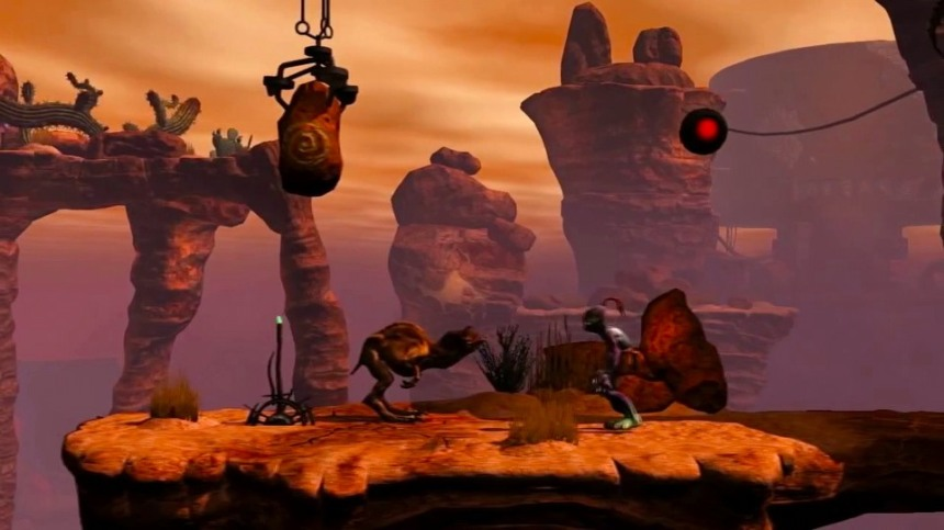 Oddworld New 'n Tasty: Abe with a creature called an Elum.