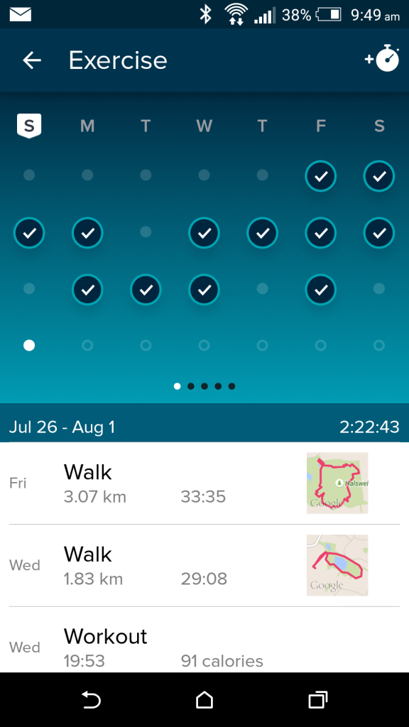 FitBit's smart phone app tracks all your exercise so that it's easy to go through.