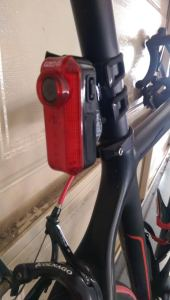 Good to go: The Fly6 fitted to my road bike's seat post.
