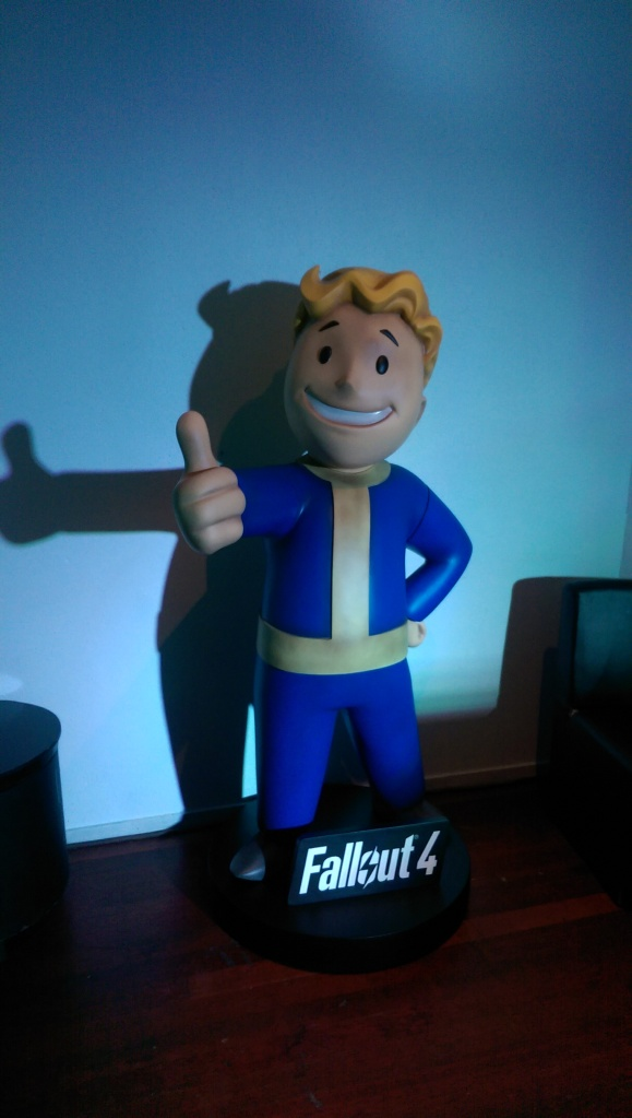 Vault Boy: This fine chap was guarding a presentation from Bethsda for Fallout 4.