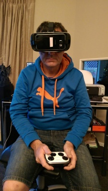 Here's me wearing the Samsung Gear VR. It's hard to look cool wearing a VR headset, to be honest.