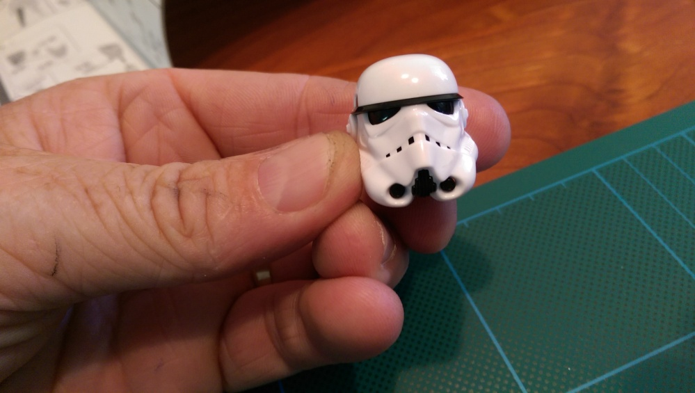 The storm trooper's head complete. It's actually about five or six parts, all snapped together to form the one piece.