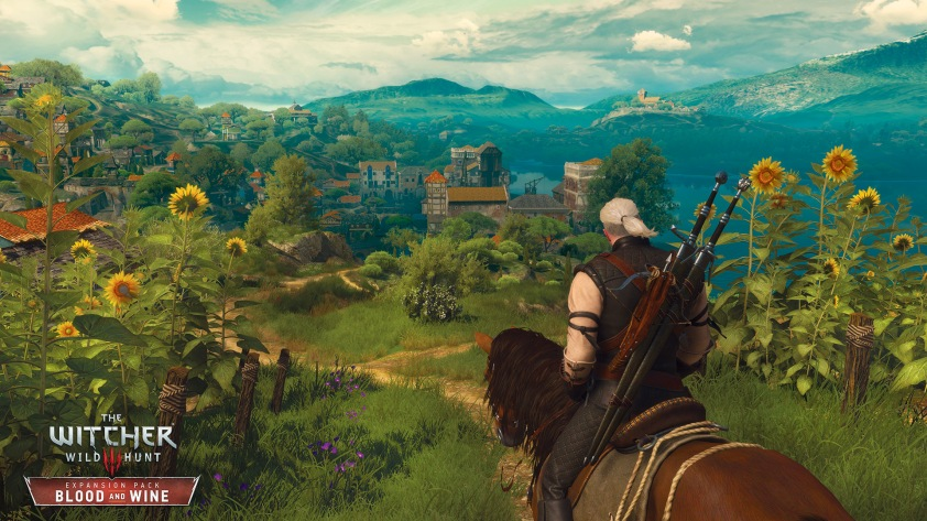 Pwooar, look at all those bright colours. And sunflowers. And Geralt. It's lovely!!