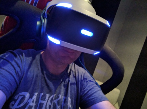 A close up of the PlayStation VR headset.