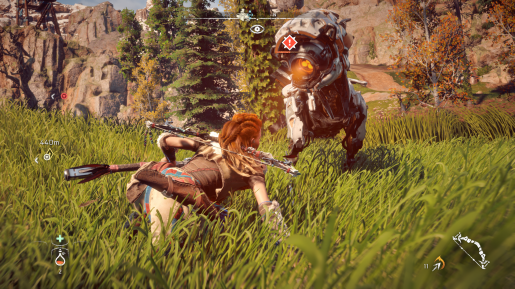 Aloy confronts a watcher.
